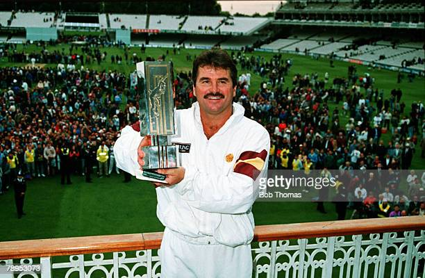 5th September 1992 Nat West Trophy Final at Lord's Northamptonshire beat Leicestershire by 8 wickets Northamptonshire captain Alan Lamb celebrates...
