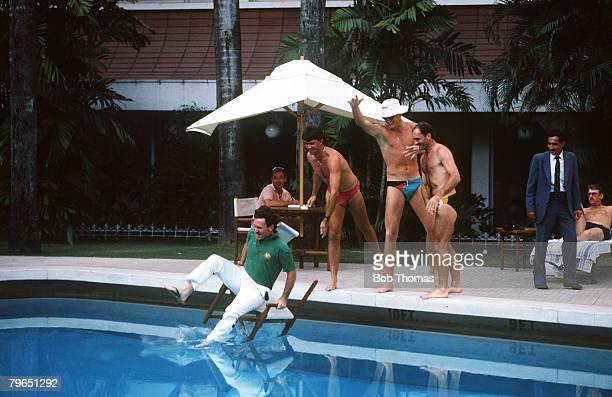 7th November 1987 Cricket World Cup Calcutta Australia captain Allan Border the victim as teammates throw him clothed into the swimming pool