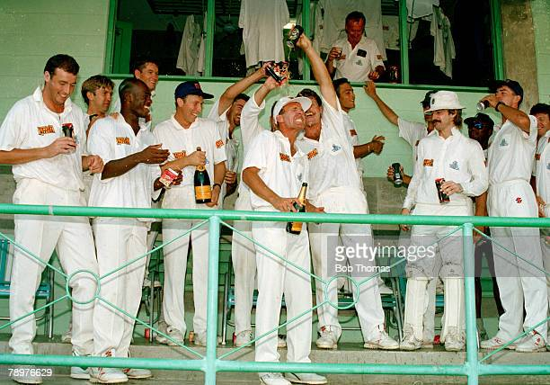 April 1994, 4th Test Match in Barbados, England beat West Indies by 208 runs, England batsman Alec Stewart who scored centuries in each innings with...