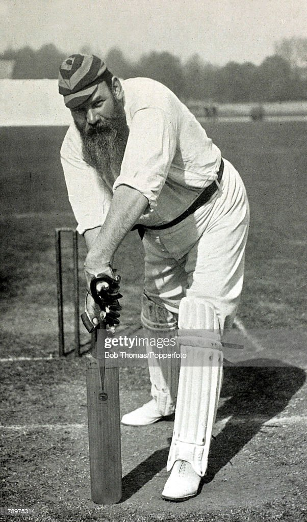circa 1897, WG Grace demonstrating the forward defensive stroke, Dr William Gilbert Grace, (W,G,Grace), 1848-1915, perhaps the most famous cricketer of all time, He played for Gloucestershire, 1870-1899 and for England in 22 matches, 1880-1899, He broke many records in his career, and scored 1000 runs in a season 28 times, 2000, 5 times, and performed the 'Double' on 7 occasions, The 1st to hit 100 first class centuries, his best bowling figures were 10/49 for MCC v Oxford University in 1886