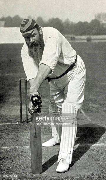 Circa 1897, WG Grace demonstrating the forward defensive stroke, Dr William Gilbert Grace, , 1848-1915, perhaps the most famous cricketer of all...