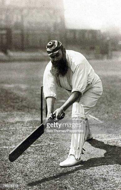 """Circa 1897, WG Grace pictured """"pulling"""" the ball, Dr William Gilbert Grace, , 1848-1915, perhaps the most famous cricketer of all time, He played for..."""