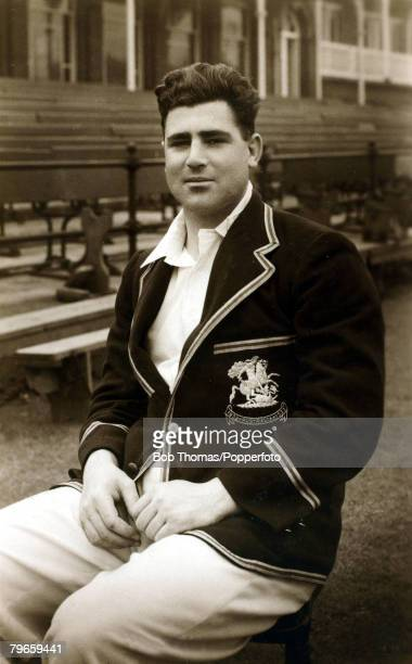 "Circa 1932, Bill Voce, Nottinghamshire and England, is pictured wearing his 1932-1933 M,C,C, ""bodyline"" blazer, During this infamous tour of..."
