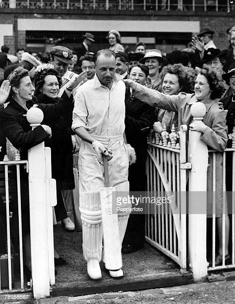 circa 1946 Australia's Donald Bradman gets a warm reception as he takes to the field at the Melbourne Cricket Ground Donald Bradman played in 52 Test...