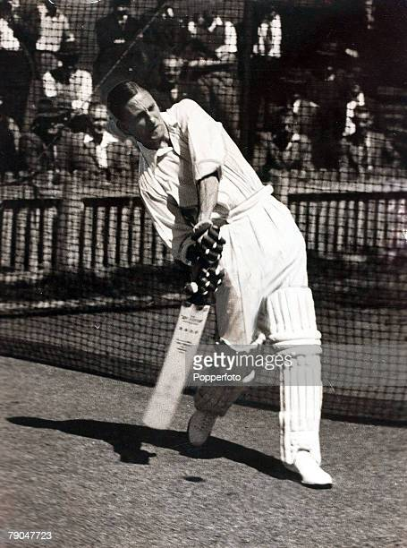 circa 1946 Yorkshire and England's star batsman Len Hutton pictured at practice in the nets playing a ball on the offside