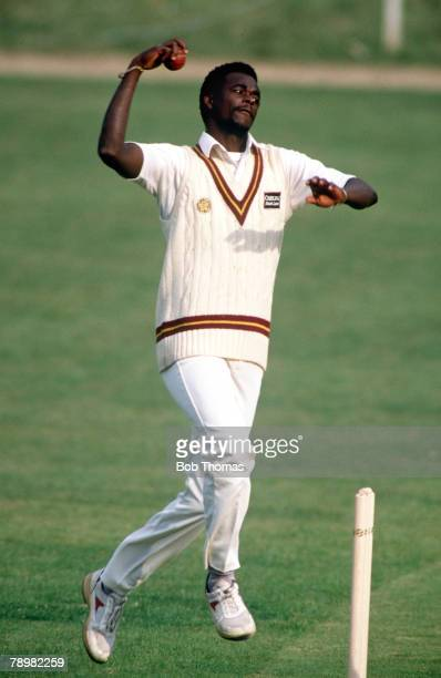 circa 1990 Winston Davis Northamptonshire and West Indies fast bowler