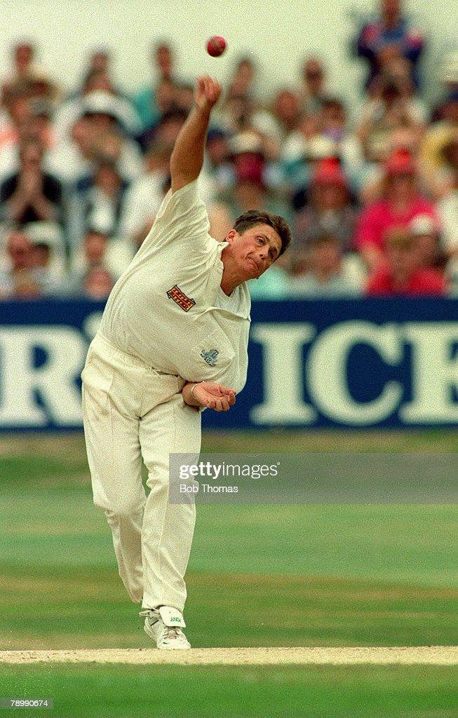 Sport. Cricket. pic: circa 1994. England's Darren Gough in his delivery stride. : News Photo