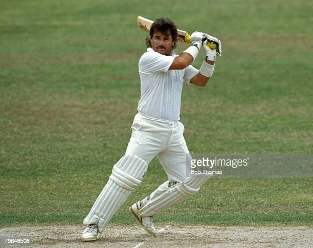February 1990 1st Test Match at Kingston Jamaica England beat West Indies by 9 wickets England batsman Allan Lamb who made a 1st innings century...