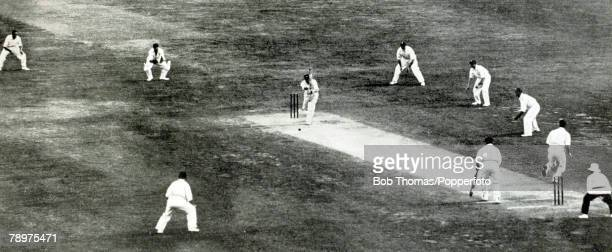 January 1933 Third Test Match in Adelaide England beat Australia by 338 runs The field set for England bowler Bill Voce and his 'legtheory' bowling...