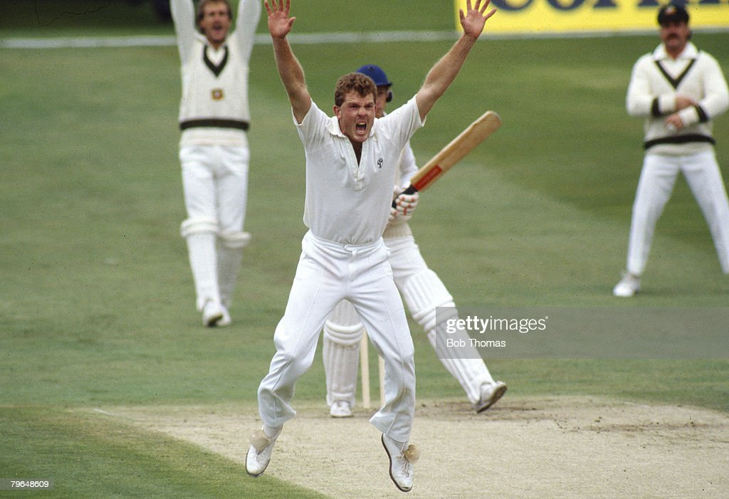 BT Sport, Cricket, pic: June 1985, 1st Test Match at Headingley, England v Australia, Craig McDermott, the Australia fast bowler who played for Australia in 71 Test matches between 1984-1996, makes a loud appeal to the umpire : ニュース写真