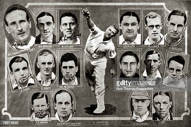 "March 1933, The England team which brought back ""The Ashes"" from Australia after winning the Test series 4-1, The largest image is of the England..."
