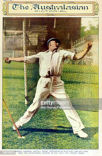 "March 1933, The front cover of ""The Australasian Pictorial"" shows England's hostile fast bowler Harold Larwood, The Nottinghamshire pace bowler..."