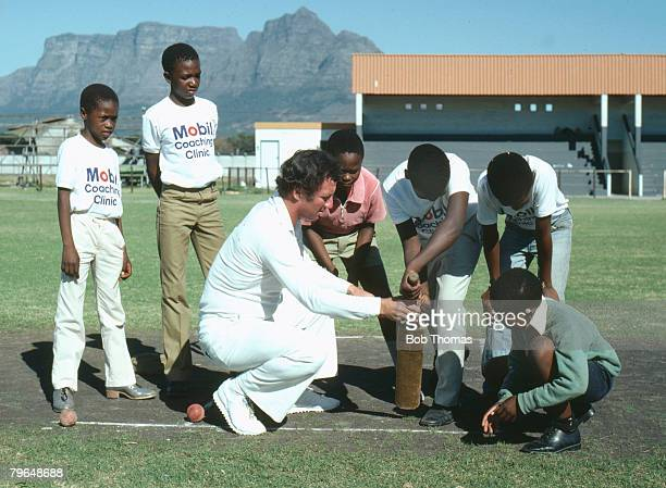 March 1982 Cape Town South Africa Glamorgan cricketer Kevin Lyons giving black youngsters cricket coaching in Langa township Cape Town