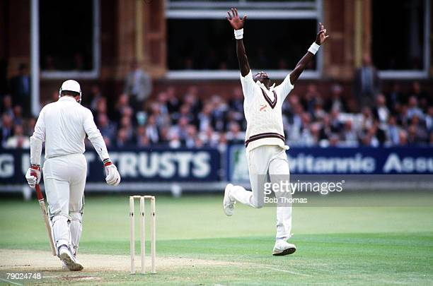 Sport, Cricket, Second Cornhill Test Match, Lords, Middlesex England v West Indies, West Indies' Curtley Ambrose celebrates after taking the wicket...