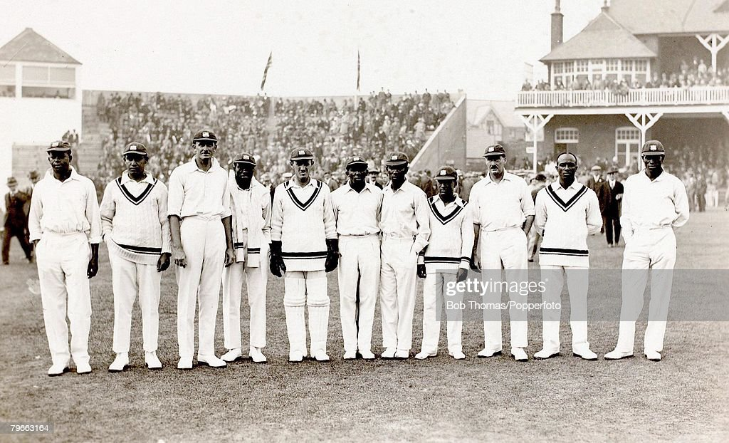 Sport, Cricket, September 8th-11th, 1928, at Scarborough, Mr,H,D,G,Leveson-Gower's XI v West Indies, Leveson-Gower's XI won by 8 wickets, The West Indies team pictured before the start of play, The team was captained by their wicketkeeper R,K,Nunes and in : News Photo