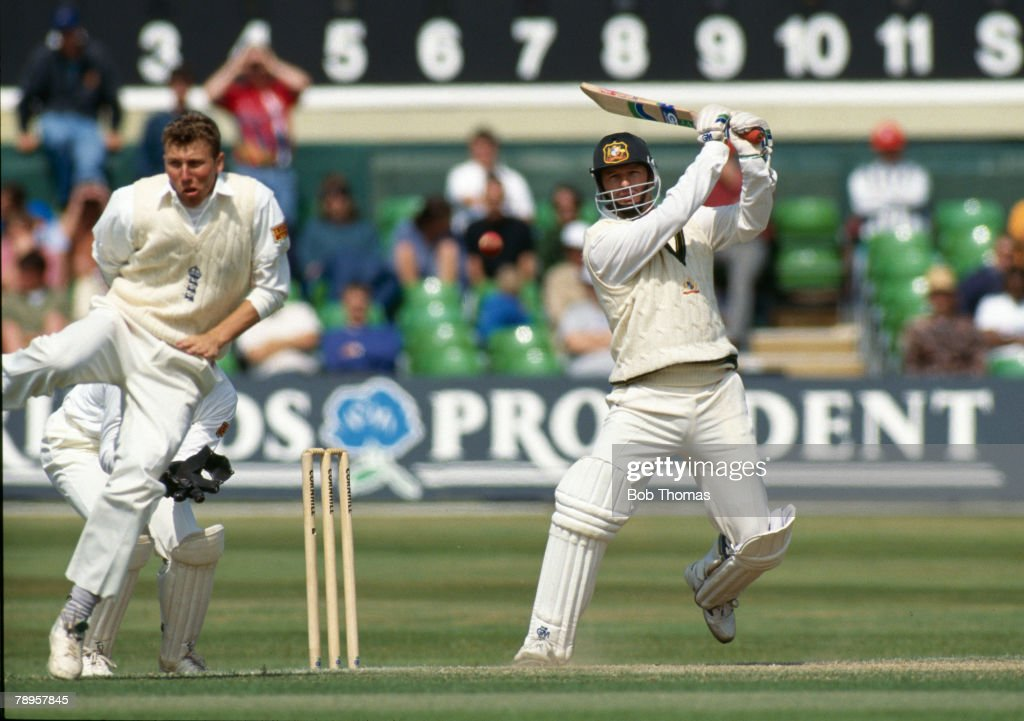 Sport. Cricket. The Australians Tour of England. pic: June 1993. 3rd Test Match. Trent Bridge. England drew with Australia. Australia's Steve Waugh hits out as England's Mike Atherton takes avoiding action. Steve Waugh, who played in 168 Test matches for  : News Photo