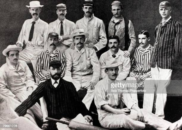 Sport Cricket The England team for the tour of Australia in 188283 Standing lr WBarnes FMorley MrCTStudd MrGFVernon Mr CFHLeslie Middle row seated lr...