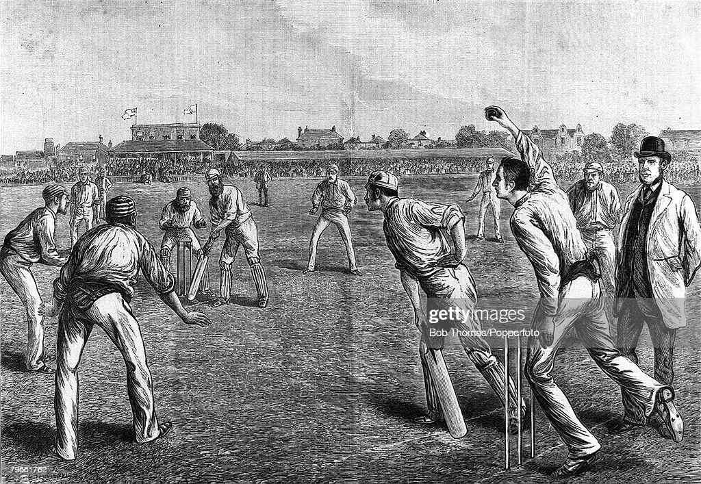 Sport, Cricket, The Kennington Oval, Surrey, London, England, August 1882, England v Australia (Australia won by 7 runs), The illustration shows the Australian's in the field, as Fred Spofforth bowls to England's WG Grace, England's defeat provoked the S : Nieuwsfoto's