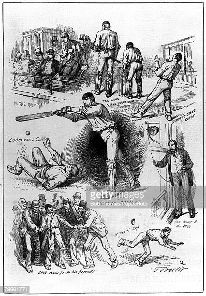 Sport Cricket The Oval London England An illustration of some of the key incidents during the match between Surrey County Cricket Club and the...