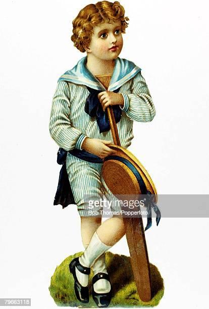 Sport Cricket Victorian Chromolithograph Illustration of a young boy holding a cricket bat Circa 1895