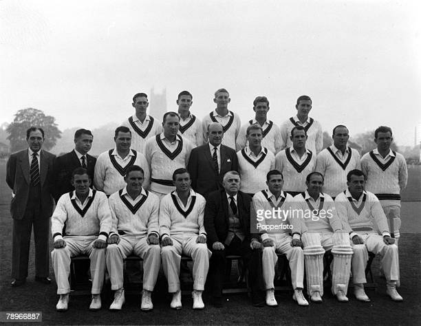 Sport Cricket Worcester England 29th April 1961 The Australian cricket team are pictured at their friendly match against Worcestershire Back Row LR...
