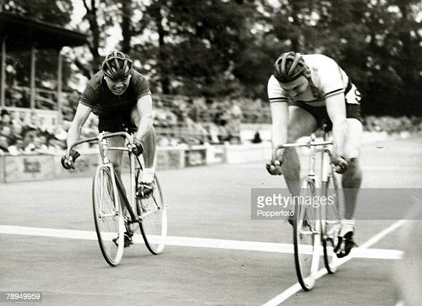 Sport Cycling 1948 Olympic Games Herne Hill England 7th August 19481000 metres Sprint A race for the line between Howard Wing China and Van de Velde...
