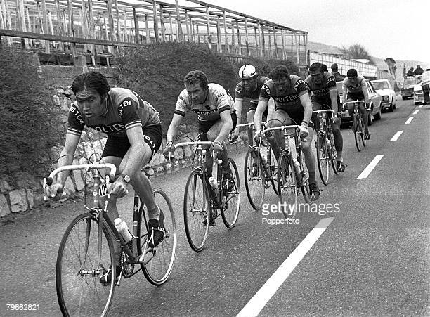 Sport, Cycling, Italy, 22nd March 1971, Milan to San Remo Classic, Belgium's Eddie Merckx is pictured on his way to winning the 108 mile race in a...