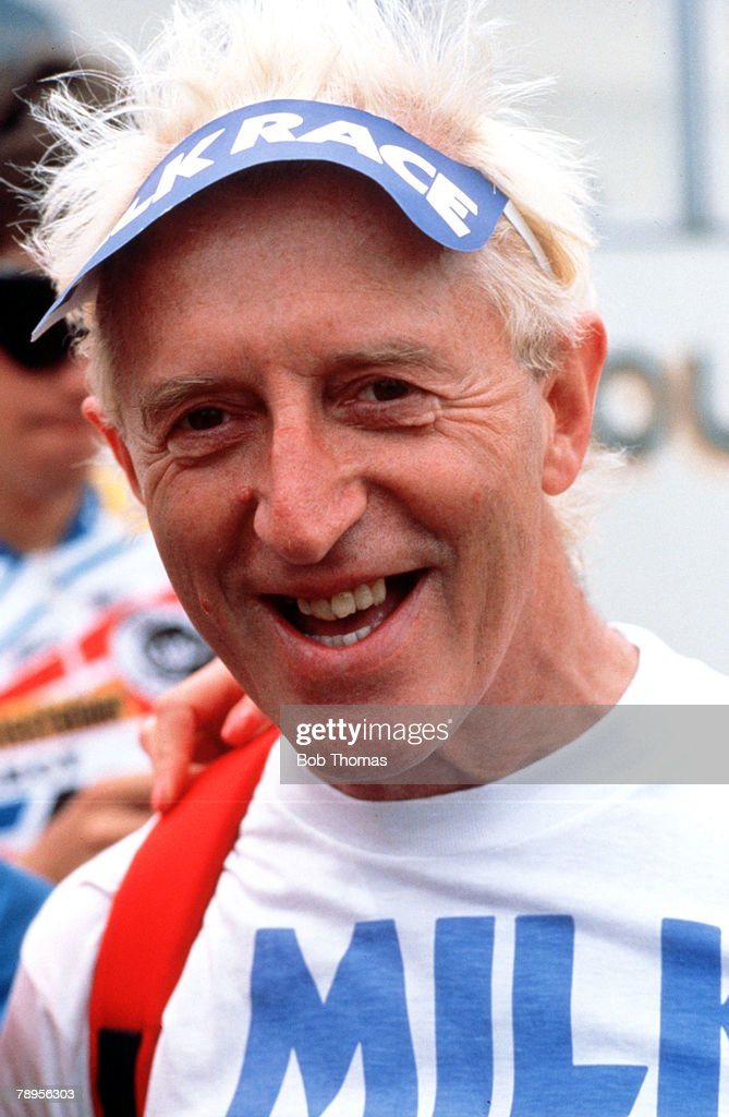 Sport, Cycling, Milk Race, London, England, 30th May 1987, A portrait of television personality Jimmy Saville