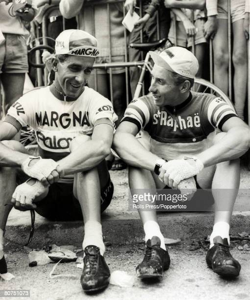 11th July 1963 Star cyclists Spaniard Federico Bahamontes and Frenchman Jacques Anquetil enjoy a chat before a mountain stage on the 1963 tour...