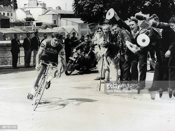 26th June 1965 French racer Raymond Poulidor who wins one of the stages is roared on by the excited crowd at Chateulin