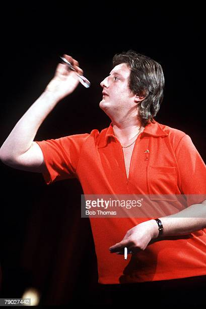 Sport Darts Embassy World Championships Frimley Green England 10th18th January 1987 England's Eric Bristow prepares to release a dart