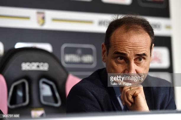 Sport Director Fabio Lupo answers questions during the presentation of Stefano Moreo as new player of US Citta' di Palermo at Carmelo Onorato...