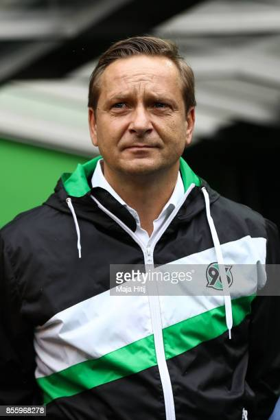 Sport director Horst Heldt of Hannover arrives to the pitch prior the Bundesliga match between Borussia Moenchengladbach and Hannover 96 at...