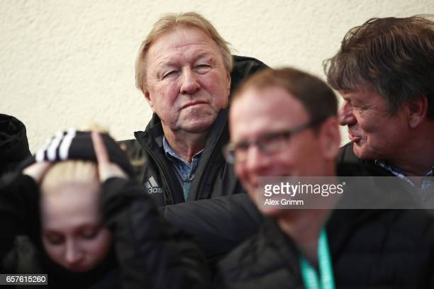 DFB sport director Horst Hrubesch looks on prior to the UEFA Elite Round match between U19 Germany and U19 Serbia at Sportpark on March 25 2017 in...