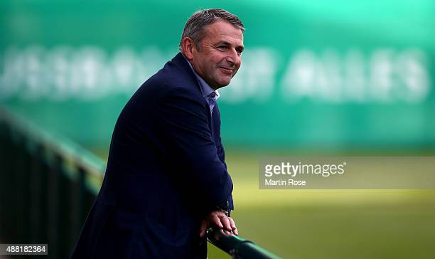 Sport director Klaus Allofs looks on during a training sessiosn ahead of the UEFA Champions League group B match between VfL Wolfsburg and CSKA...