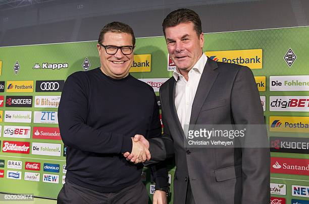 Sport Director Max Eberl of Moenchengladbach unveils new Borussia Moenchengladbach Head Coach Dieter Hecking at Borussia-Park on January 04, 2017 in...