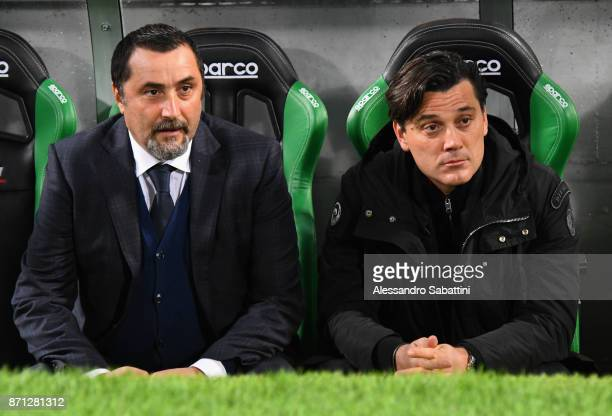 Sport Director of AC Milan Massimiliano Mirabelli and head coach Vincenzo Montella of AC Milan attend the Serie A match between US Sassuolo and AC...