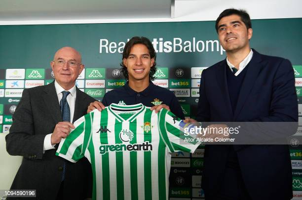 Sport director of Real Betis Balompie Lorenzo Serra Ferrer Diego Lainez and President of Real Betis Balompie Angel Haro during the unveil new signing...