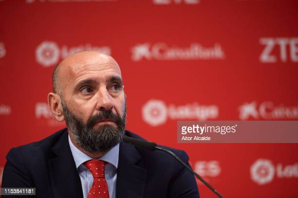 """Sport director of Sevilla FC Ramon Rodriguez """"Monchi"""" addresses the media during the unveiling of Julen Lopetegui as manager of Sevilla FC at..."""