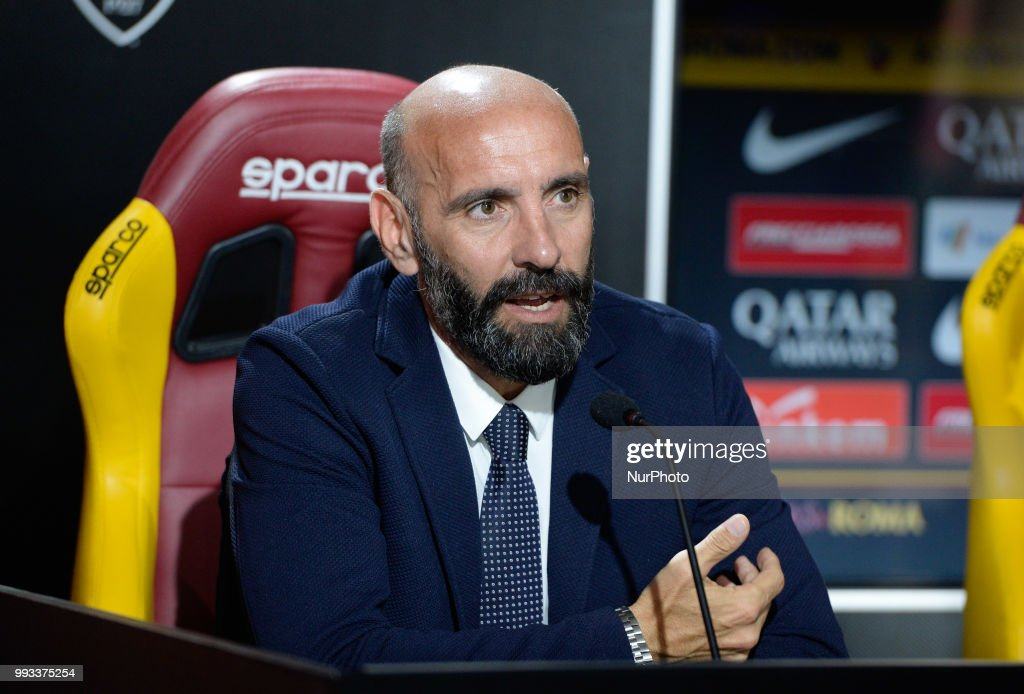 Sport Director Ramon Rodriguez Verdejo Monchi during the press conference at the AS Roma Training Centre on July 07, 2018 in Rome, Italy.