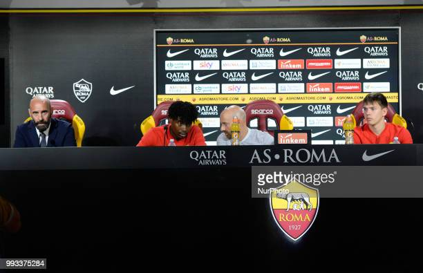 Sport Director Ramon Rodriguez Verdejo Monchi William Bianda and Ante Coric of AS Roma during the press conference at the AS Roma Training Centre on...