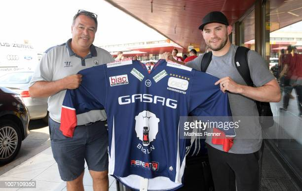 Sport director Stephane Richer and Sean Backman of Eisbaeren Berlin arrive at Tegel airport on July 29 2018 in Berlin Germany