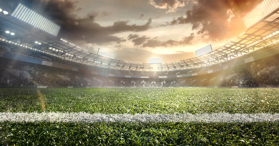 Sport. Empty football soccer field with white marks, green grass texture. 941474864