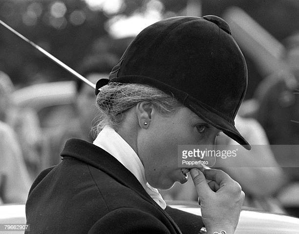 Sport Equestrian Hickstead Sussex England 22nd July 1973 Princess Anne is pictured deep in thought prior to competing in the Combined Open...