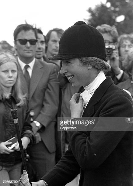 Sport Equestrian Sussex England 22nd July 1973 HRH Princess Anne is delighted after winning the combined Open Championships on 'Doublet' at Hickstead