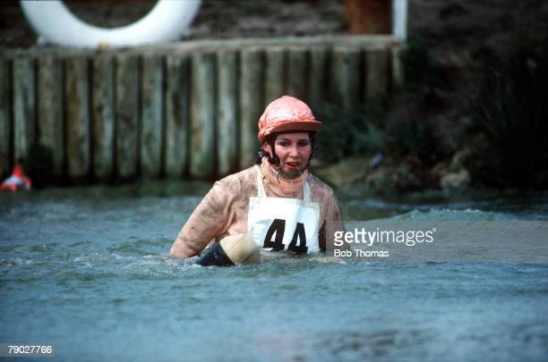 Sport Equestrian ThreeDay Eventing Badminton Horse Trials England 18th21st April 1985 Beverley Thomas is left soaking wet in the water after falling...