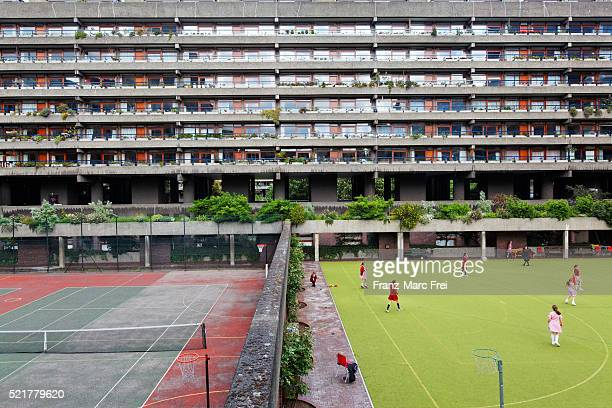 Sport facilities at a ourtyard at the Barbican centre, London, England