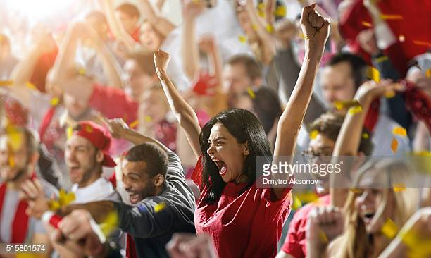 sport fans: a girl shouting - supporter stock pictures, royalty-free photos & images