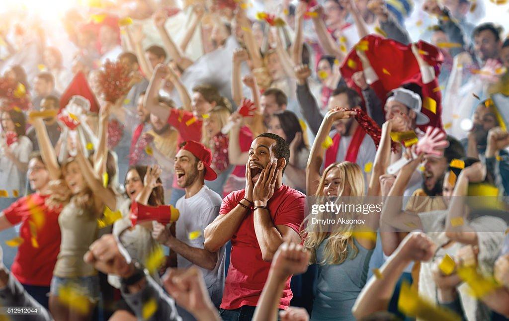 Sport fans: A man shouting : Stock Photo