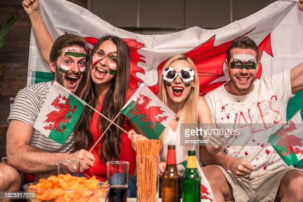 sport fans cheering for wales watching international multi-sport live event at home - international match stock pictures, royalty-free photos & images